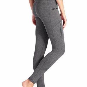 Athleta Grey Zip Leggings